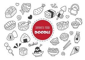 doodle comida japonesa kawaii vetor