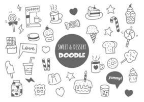 doodle kawaii doce e sobremesa vetor