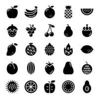 ícones de vetor de glifo de frutas