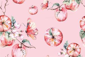 padrão sem emenda com aquarela maçãs e folhas vetor