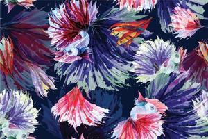 pintura de peixes betta aquarela padrão sem emenda vetor