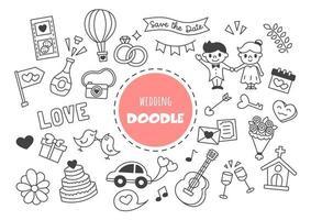 doodle kawaii de casamento vetor
