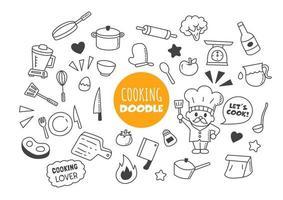 cozinhar doodle kawaii vetor