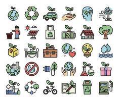 ícones de vetor de contorno de cor de ecologia