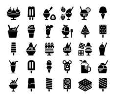ícones de vetor de glifo de sorvete