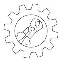 ícone de alicate elétrico técnico na engrenagem. esboço do ícone técnico do alicate elétrico para web design vetor