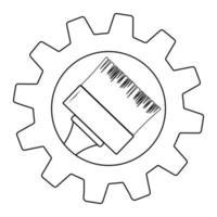 pincel no ícone de engrenagem símbolo plano popular e simples para web e gráfico, aplicativo móvel, logotipo. ícone de vetor de pincel de pintura isolado no fundo branco