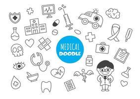 doodle kawaii médico vetor