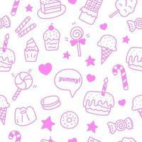 doce e sobremesa doodle padrão sem emenda vetor