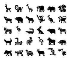 ícones de vetor de glifo de animais selvagens