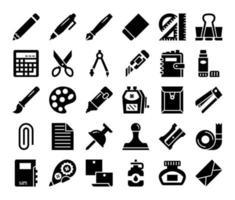 ícones vetoriais de glifo de papelaria