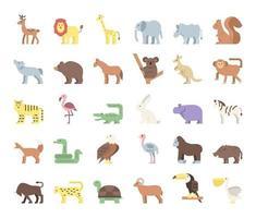 ícones de vetor plana de animais selvagens