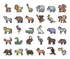 ícones do vetor de contorno de cores de animais selvagens