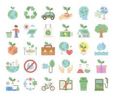 ícones de vetor plana de ecologia