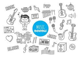 doodle de música kawaii vetor