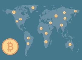 conceito de bitcoin, moedas espalhadas no mapa de fundo ilustrador world.vector