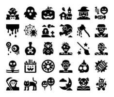 feliz dia das bruxas glifo ícones vetoriais