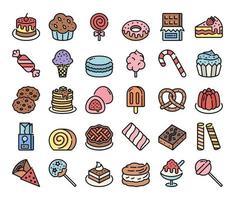 ícones do vetor de contorno de cor doce e sobremesa