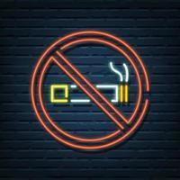 letreiro de néon proibido fumar vetor