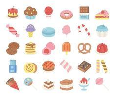 ícones de vetor plana de doces e sobremesas