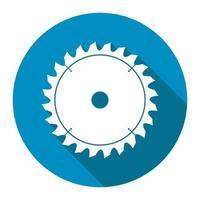 ícone de serra circular com sombra longa preta, estilo de design simples. Ilustração em vetor