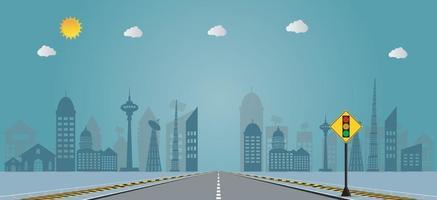 semáforo no plano de fundo das ruas da cidade, ilustração do sinal de rua do sinal da cidade. vetor