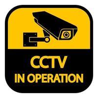 câmera de cctv label.black sinal de vigilância por vídeo em fundo branco. Ilustração em vetor