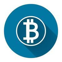 símbolo ícone bitcoin branco com sombra longa preta, estilo de design simples. Ilustração em vetor