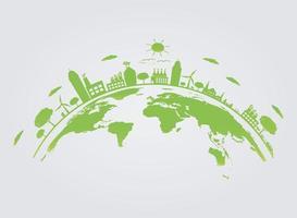 Ecologia.Cidades verdes ajudam o mundo com ideias de conceitos ecológicos. Ilustração em vetor