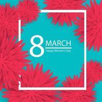 8 de março. rosa floral saudação card.happy dia da mulher. fundo de férias de flor de corte de papel azul com moldura quadrada. ilustração vetorial vetor