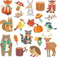 coleção de elementos e personagens animais fofos de outono vetor
