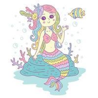 ilustração colorida de sereia fofa vetor