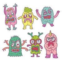coleção de personagens monstro louco fofo colorido vetor