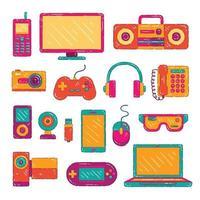 coleção de aparelhos eletrônicos coloridos vetor