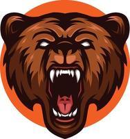ilustração de urso-pardo zangado mascote grizzly head vetor