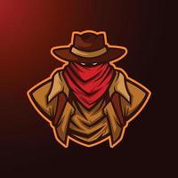 ilustração de cowboy do texas com mascote de chapéu vetor