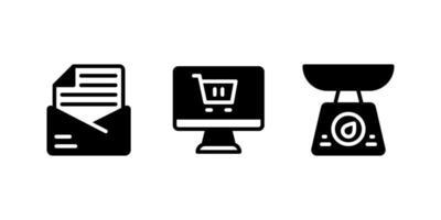 boletim informativo, compras online, ícone de glifo de balança