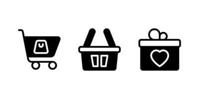 carrinho de compras, sacola de compras, ícones de glifo de presente