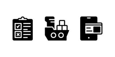área de transferência, navio de carga, ícone de glifo de pagamento online