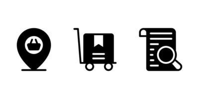 localização, carrinho de carrinho, ícone de glifo de pesquisa