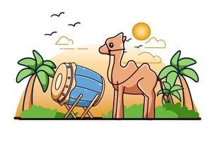 Mesquita de tambor com camelo na ilustração dos desenhos animados do ícone Ramadan Kareem vetor