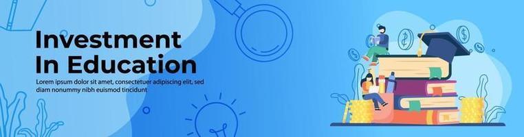 investimento em educação conceito web banner design vetor