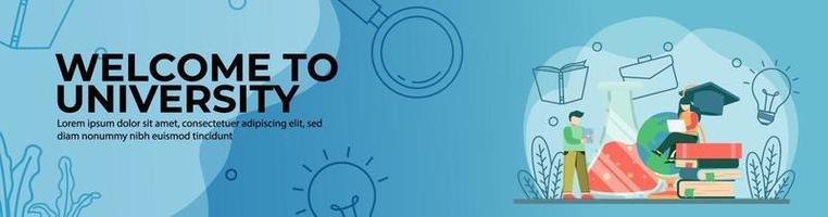 bem-vindo ao design do banner da web da universidade vetor