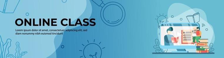 design de banner web aula online vetor