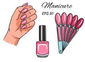 manicure. mão com unhas pintadas vetor