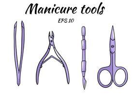 um conjunto de ferramentas de manicure vetor