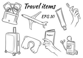 conjunto de itens de viagem vetor