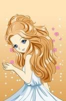 linda e fofa princesa loira comprida desenho personagem cartoon ilustração vetor