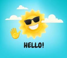 feliz sol fofo personagem com a mão. diga olá vetor