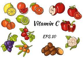 conjunto de frutas, legumes e frutas. vitamina C. comida saudável. grande coleção. vetor